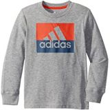 Adidas Kids Long Sleeve Heathered Block Badge of Sport Tee (Toddler/Little Kids)