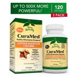 Terry Naturally CuraMed 750 mg (3 Pack) - 120 Softgels - Superior Absorption BCM-95 Curcumin...