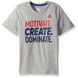 Adidas Boys Little Short Sleeve Moisture-Wicking Graphic T-Shirts, Grey Heather, 7X