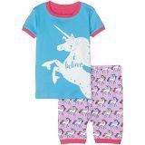 Rainbow Unicorns Applique Organic Cotton Short Pajama Set (Toddler/Little Kids/Big Kids)