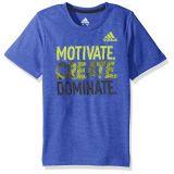 Adidas Boys Little Short Sleeve Moisture-Wicking Graphic T-Shirts, Hi-Res Blue Adi, 7