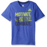 Adidas Boys Little Short Sleeve Moisture-Wicking Graphic T-Shirts, Hi-Res Blue Adi, 6