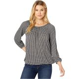 Micro Check Peasant Top