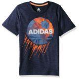 Adidas Boys Little Short Sleeve Moisture-Wicking Graphic T-Shirts, Collegiate Navy Soccer, 7