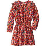 Long Sleeve Geometric Print Dress with Ruffles (Toddler/Little Kids/Big Kids)