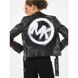MICHAEL Michael Kors Brushstroke Logo Leather Moto Jacket