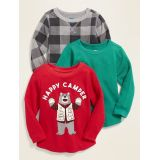 Long-Sleeve Thermal-Knit Top 3-Pack for Toddler Boys