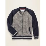 Color-Blocked Sweater-Fleece Bomber Jacket for Boys