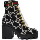 Black Tweed GG Ankle Boots