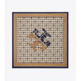 Tory Burch Basket-Weave Logo Silk Neckerchief