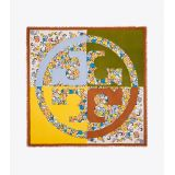 Tory Burch Color-Block Painted Floral Oversized Square Scarf