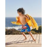 Boden Swim Trunks - Fire Cracker Red Surfing Croc