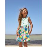 Boden Hotchpotch Tiered Jersey Dress - Multi Coral Reef