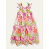 Boden Lace Detail Printed Dress - Soft Coral Pink Summer Daisy