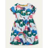 Boden Fun Jersey Dress - Multi Unicorn Mountain