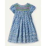 Boden Smocked Puff Sleeve Dress - Elizabethan Blue Tulip