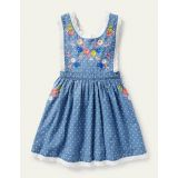 Boden Embroidered Pinafore Dress - Chambray Pin Spot