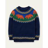 Boden Fair Isle Crew Sweater - College Navy Bears
