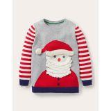 Boden Festive Graphic Crew Sweater - Grey Marl Santa Claus