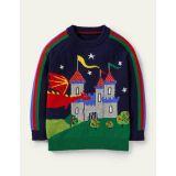 Boden Graphic Dragon Crew Sweater - College Navy Rainbow Castle