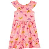 Butterfly Tiered Jersey Dress