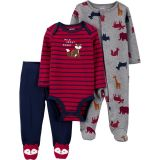 3-Piece Squirrel Bodysuit & Footed Pant Set