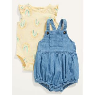 Oldnavy Chambray Bubble One-Piece & Jersey Bodysuit 2-Piece Set for Baby