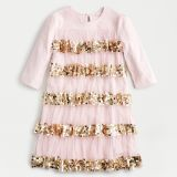 Girls' party dress in tiered tulle and sequins