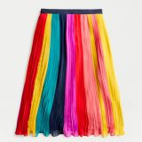 Sunburst pleated midi skirt in rainbow colorblock