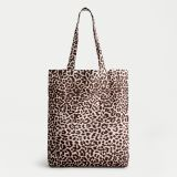 Recycled reusable lightweight tote bag in leopard