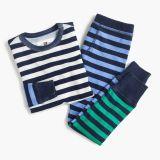 Kids' pajama set in colorblocked stripes