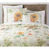 Cara Sunflower Organic Percale Duvet Cover  Shams