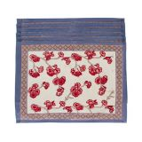 Cherry Blossom Trellis Block Print Placemats, Set of 6