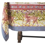 Winter Reindeer Block Print Tablecloth