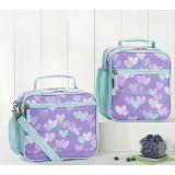 Mackenzie Lavender Aqua Cascading Hearts Lunch Boxes