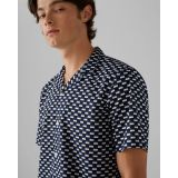 Notched Collar Geo-Print Shirt