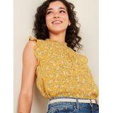 Smocked-Neck Floral-Print Gauze Blouse for Women