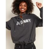 Logo-Graphic French Terry Cinched-Hem 1/2-Zip Hoodie for Women