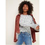 Oldnavy Cozy Leopard-Print Crew-Neck Sweater for Women