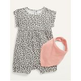 Oldnavy Printed One-Piece and Solid Bib Set for Baby