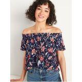 Oldnavy Floral-Print Off-the-Shoulder Crinkle-Crepe Blouse for Women