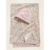 Oldnavy Unisex Swaddle Blanket & Beanie Hat 2-Piece Set for Baby