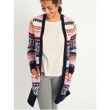 Oldnavy Cozy Fair Isle Long-Line Open-Front Sweater for Women