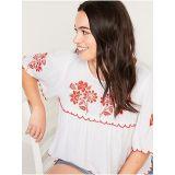 Oldnavy Oversized Embroidered Short-Sleeve Blouse for Women