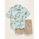 Oldnavy Printed Button-Front Shirt & Solid Shorts Set for Baby