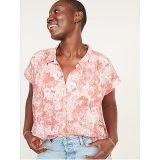 Oldnavy Oversized Short Sleeve Floral Linen-Blend Shirt for Women
